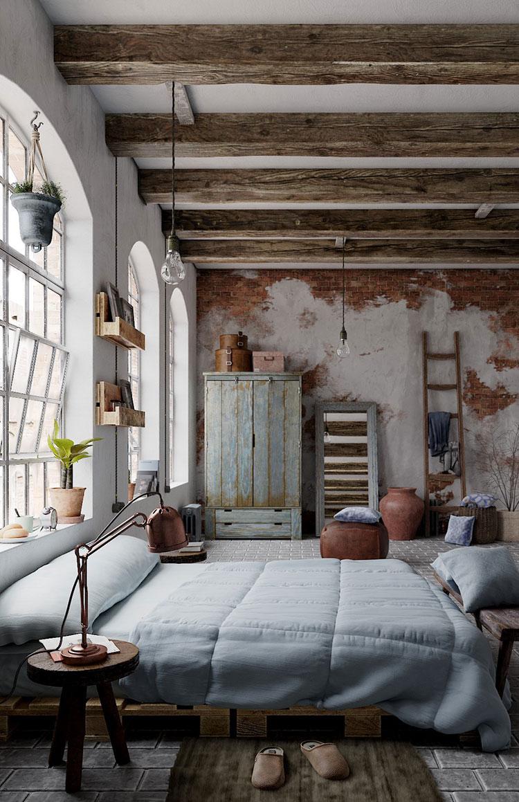 Colori Per Interni Casa Rustica camere da letto rustiche: ecco 30 idee di arredamento