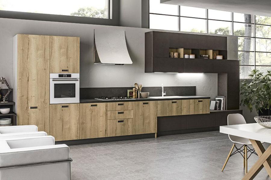 Modello di cucina lineare moderna di Arrex n.01