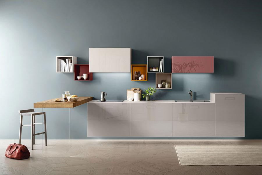 Modello di cucina lineare moderna di Lago n.01