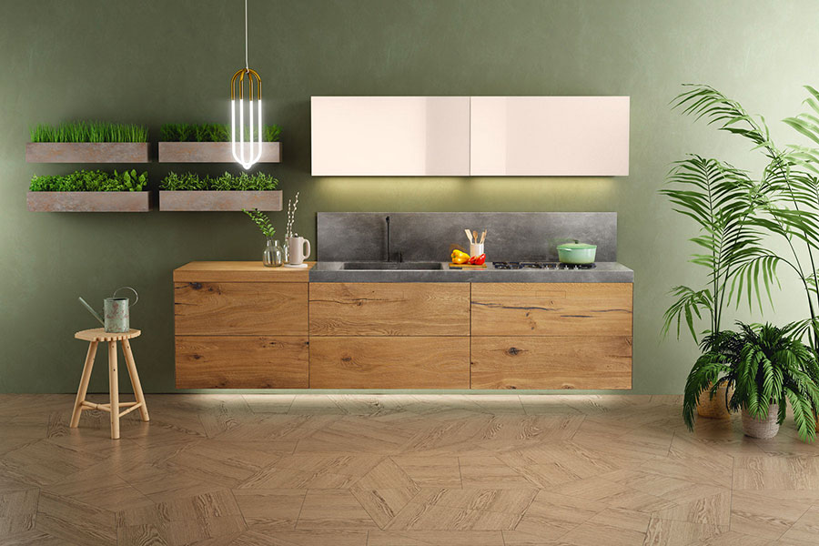 Modello di cucina lineare moderna di Lago n.06