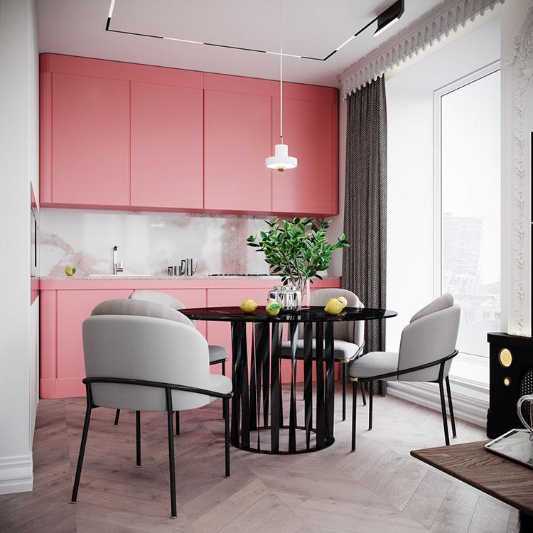 Modello di cucina rosa n.02