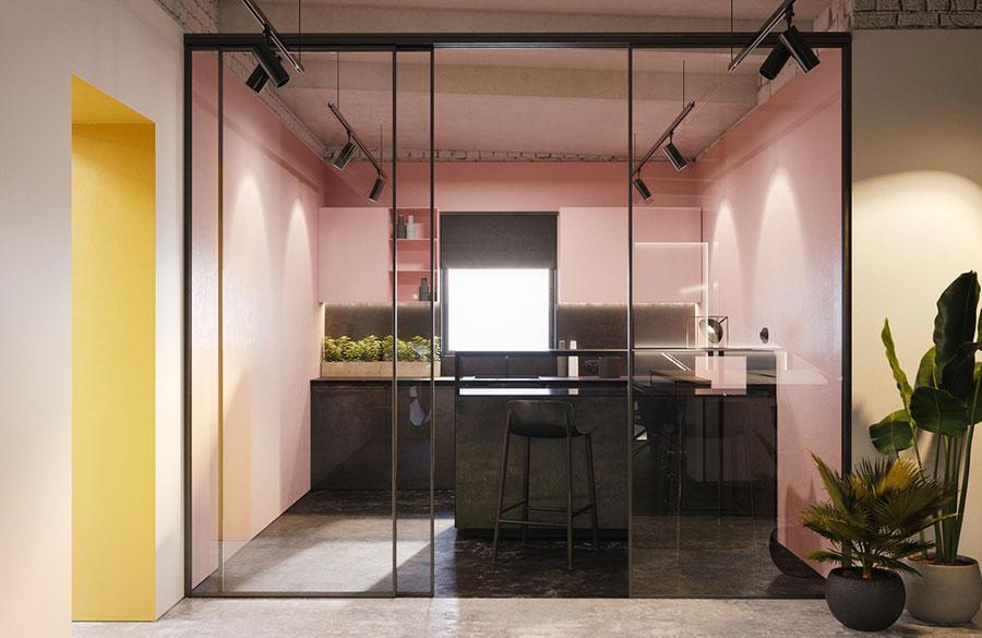 Modello di cucina rosa n.03