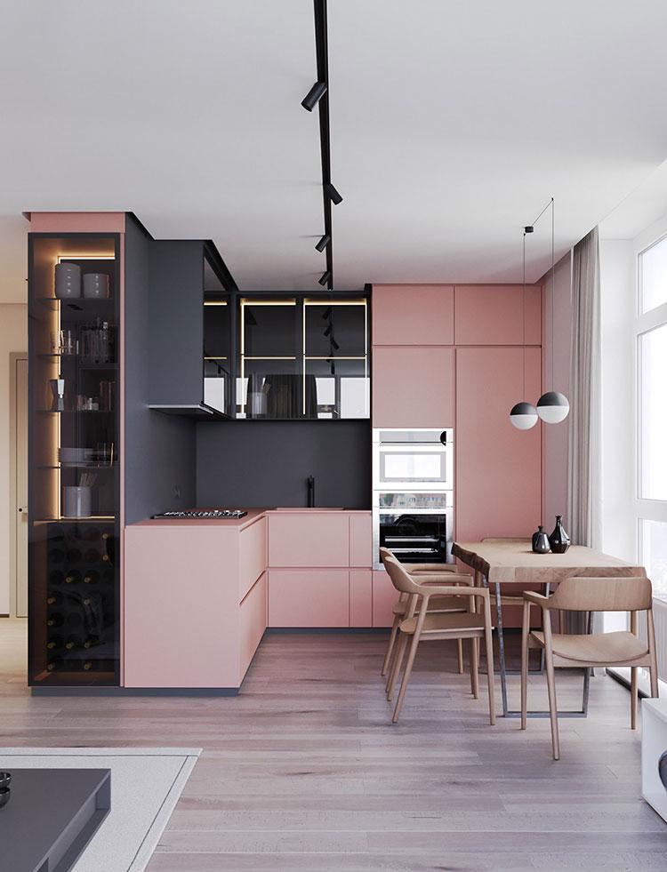 Modello di cucina rosa n.04