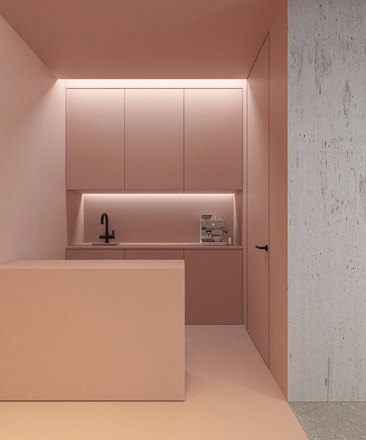Modello di cucina rosa n.05