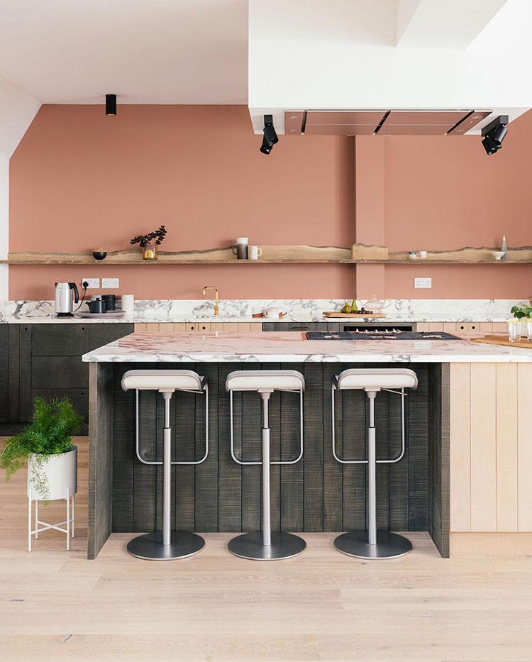 Modello di cucina rosa n.09