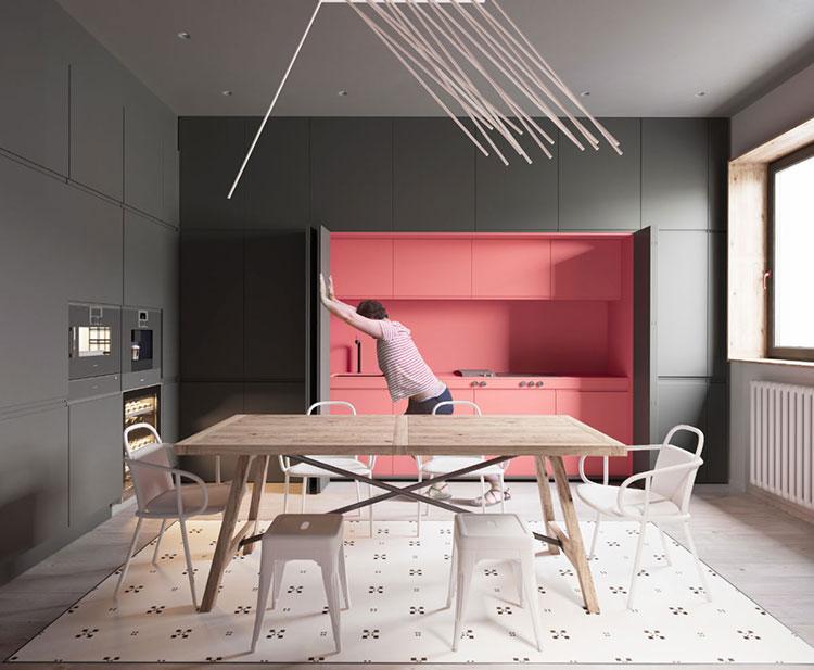 Modello di cucina rosa n.14