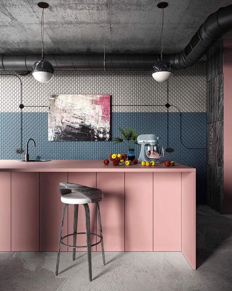 Modello di cucina rosa n.15