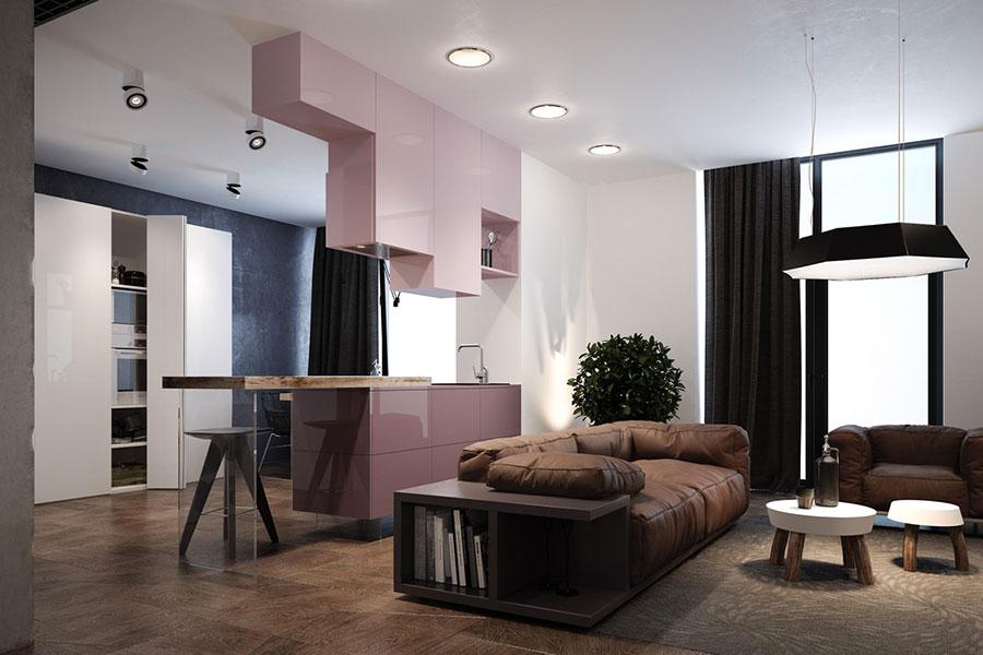 Modello di cucina rosa n.16