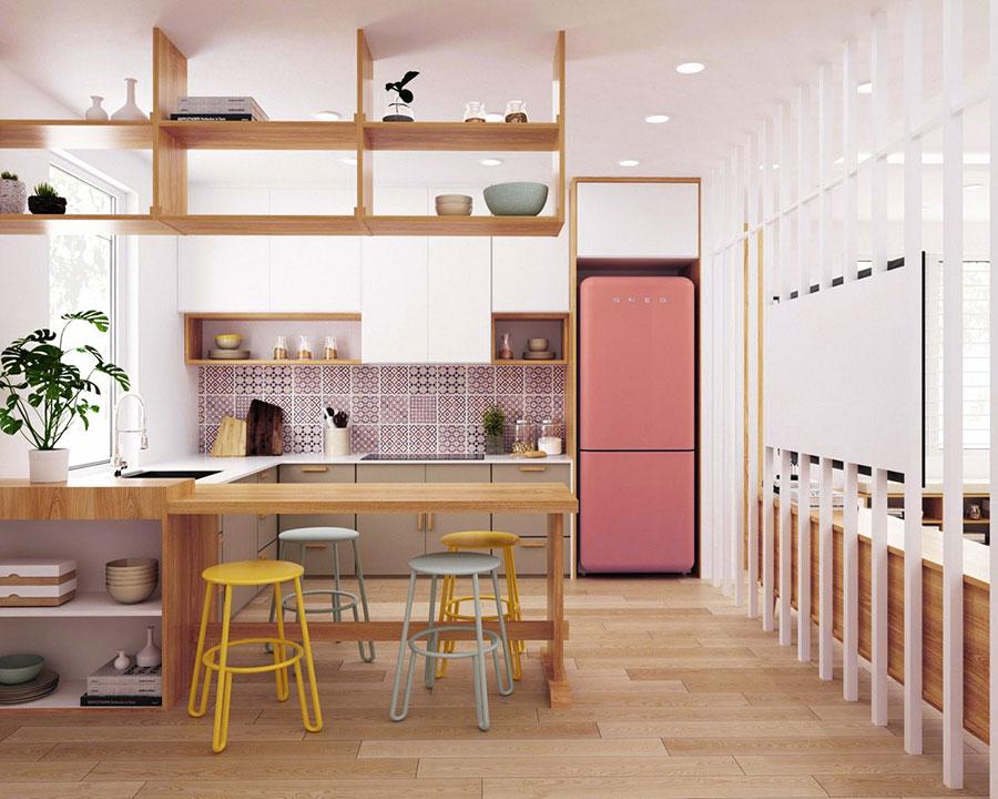 Modello di cucina rosa n.20