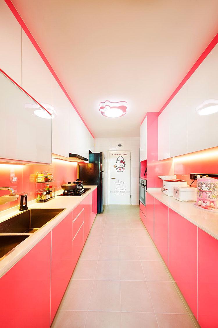Modello di cucina rosa n.21