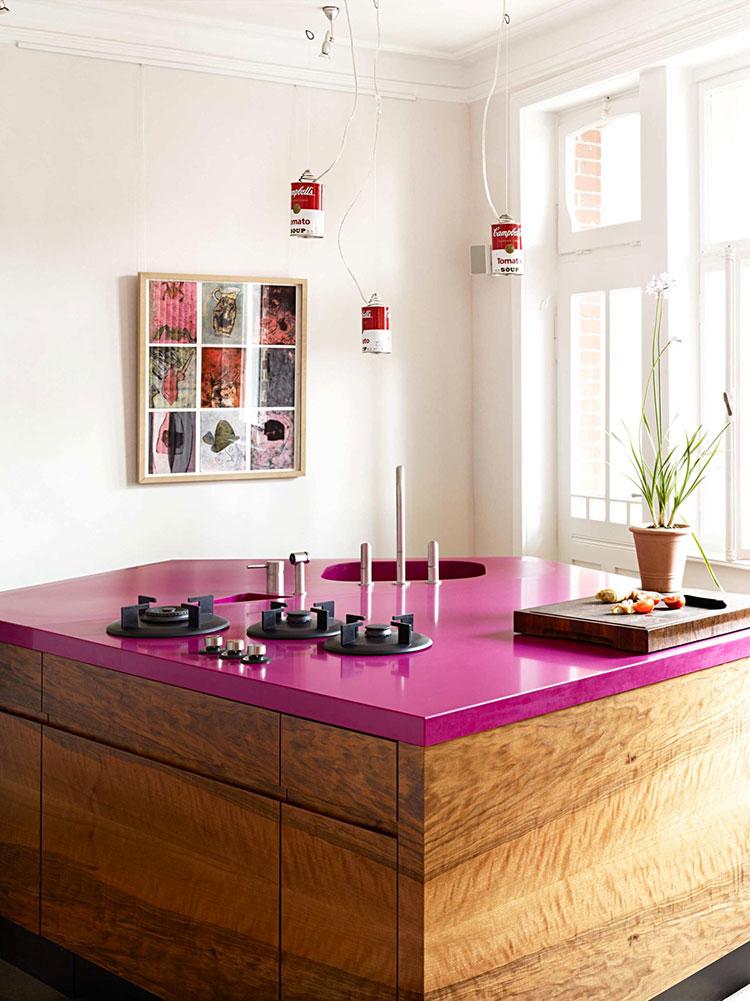 Modello di cucina rosa n.24