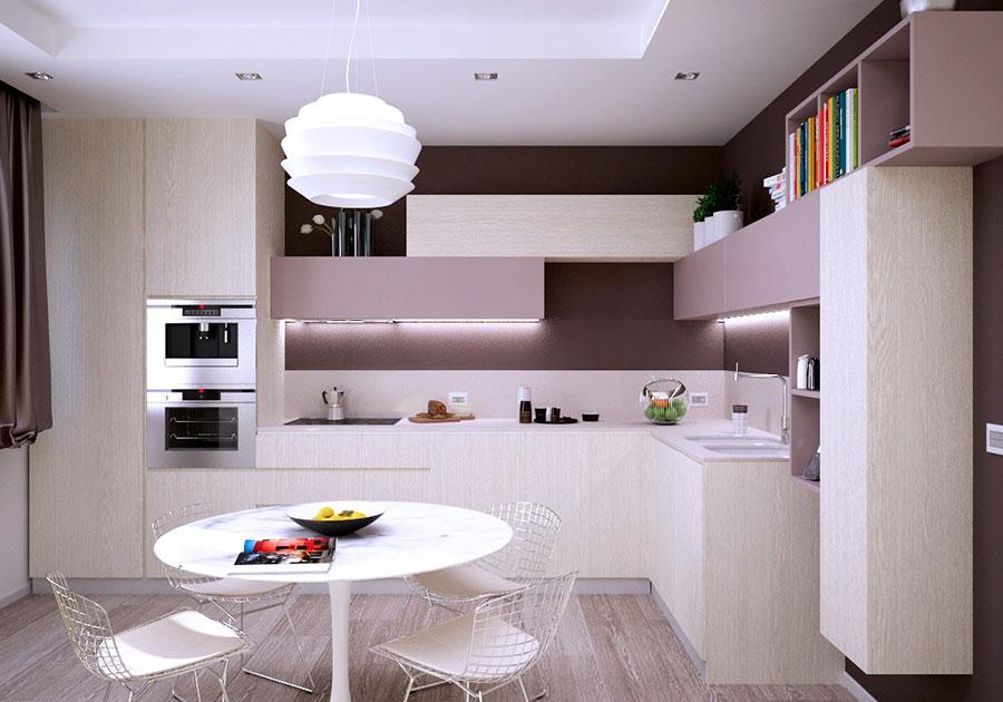 Modello di cucina rosa n.25