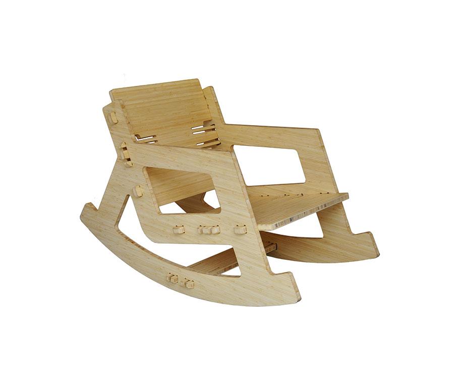 Sedia a dondolo di design modello CLICROCKER Bamboo di PeLiDesign
