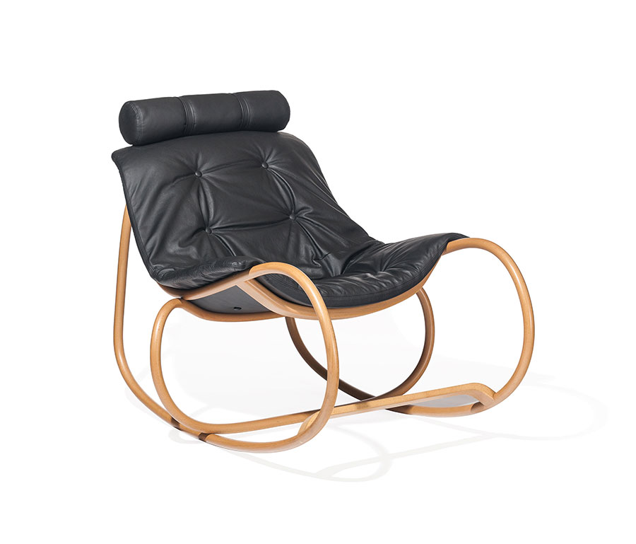 Sedia a dondolo di design modello Wave Rocking Chair di TON