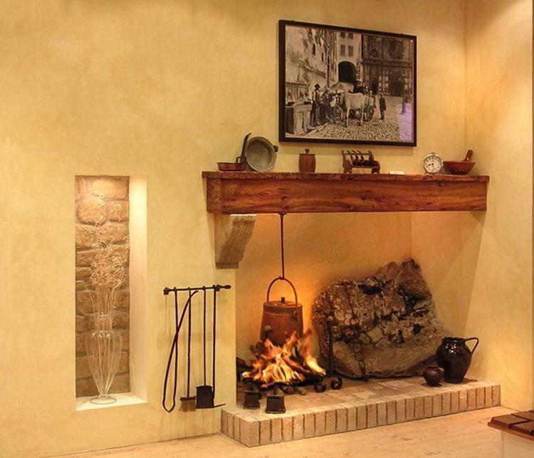 Modello di camino in pietra e legno n.01