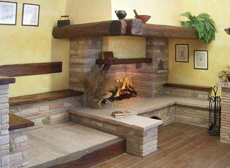 Modello di camino in pietra e legno n.02