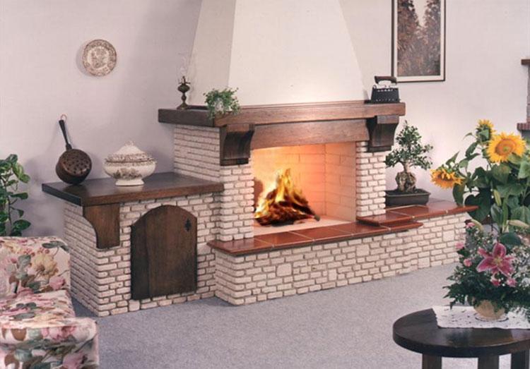 Modello di camino in pietra e legno n.03