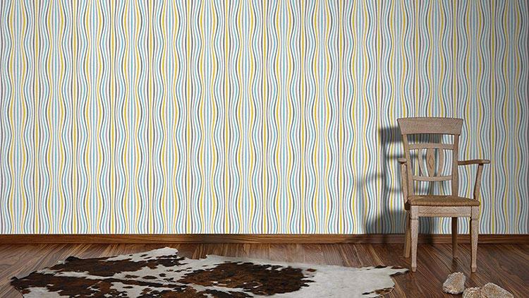 Modello di carta da parati a righe multicolore n.05