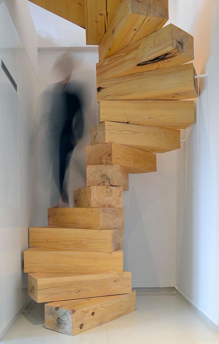 Modello di scala in legno per soppalco n.01