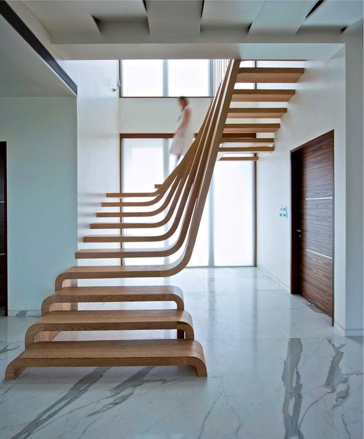 Modello di scala in legno per soppalco n.05