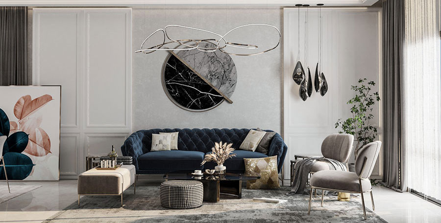 Abbinamenti divano blu