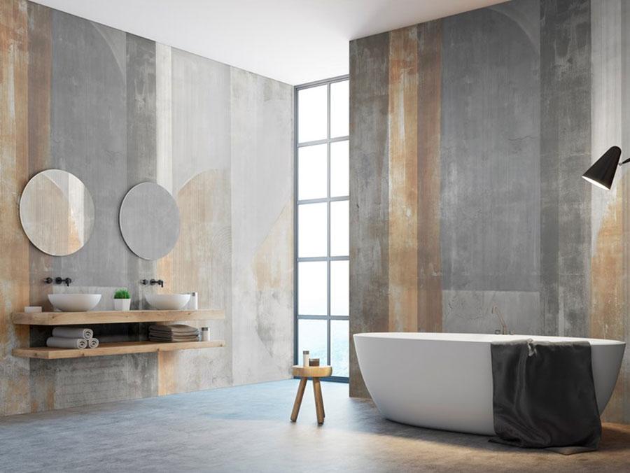 Modello di carta da parati per bagno effetto legno n.01