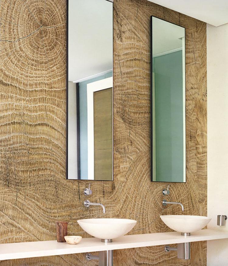Modello di carta da parati per bagno effetto legno n.02