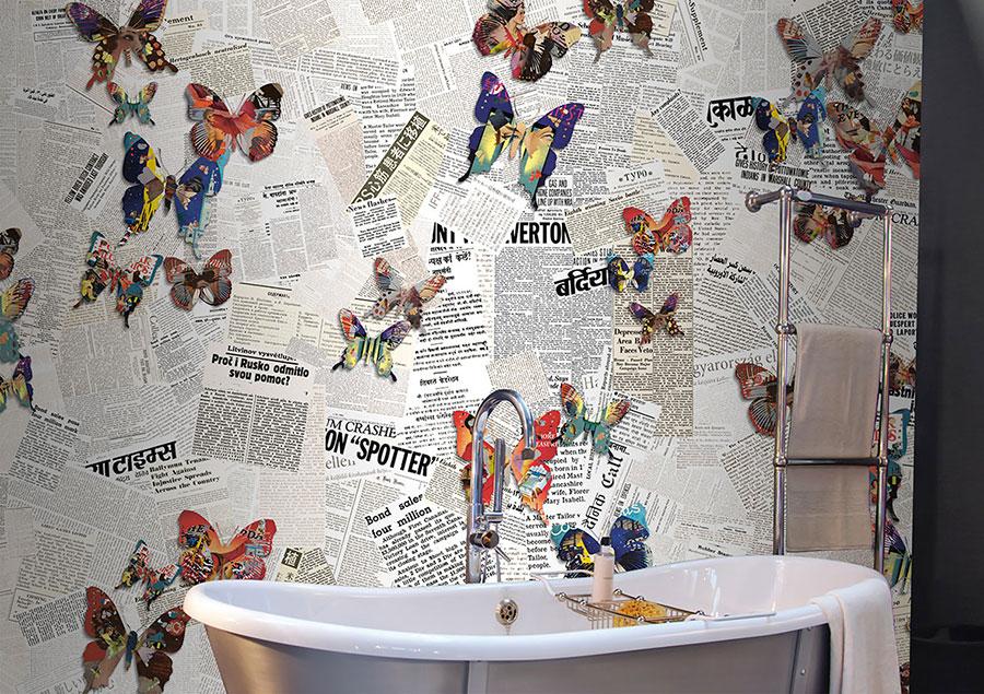 Modello di carta da parati per bagno effetto vintage n.05