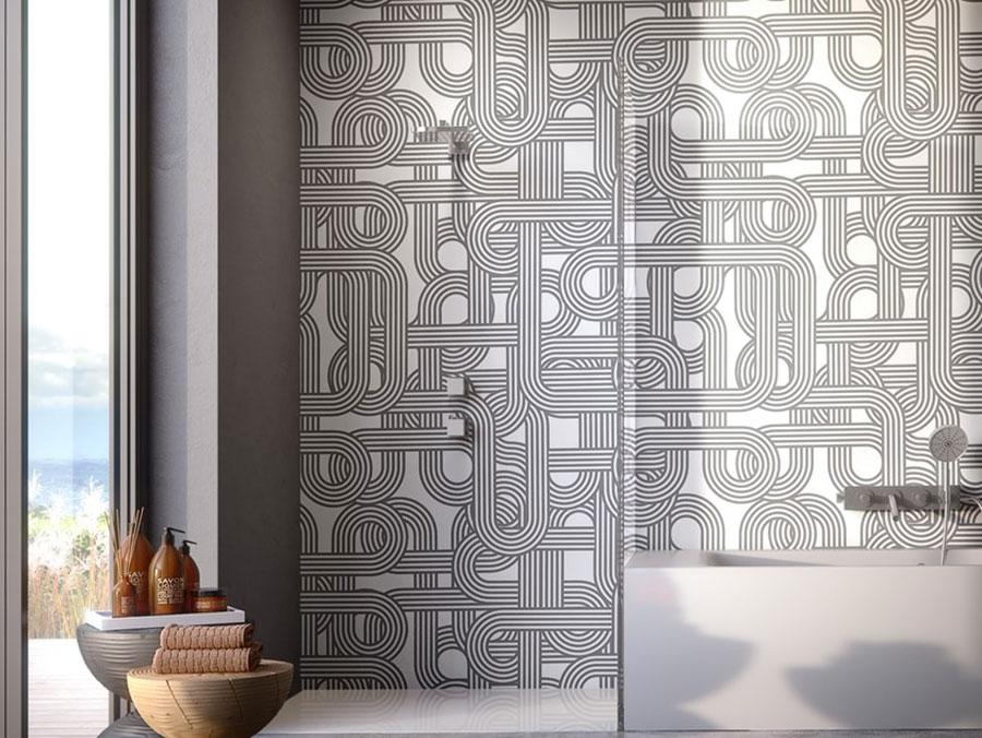 Modello di carta da parati per bagno motivo geometrico n.04