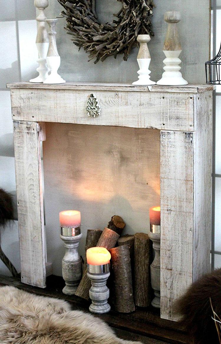 Cornice per finto camino decorativo effetto legno n.09