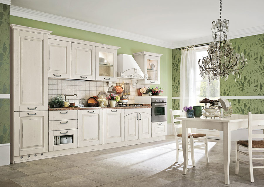 Colore verde per pareti di cucine classiche n.02