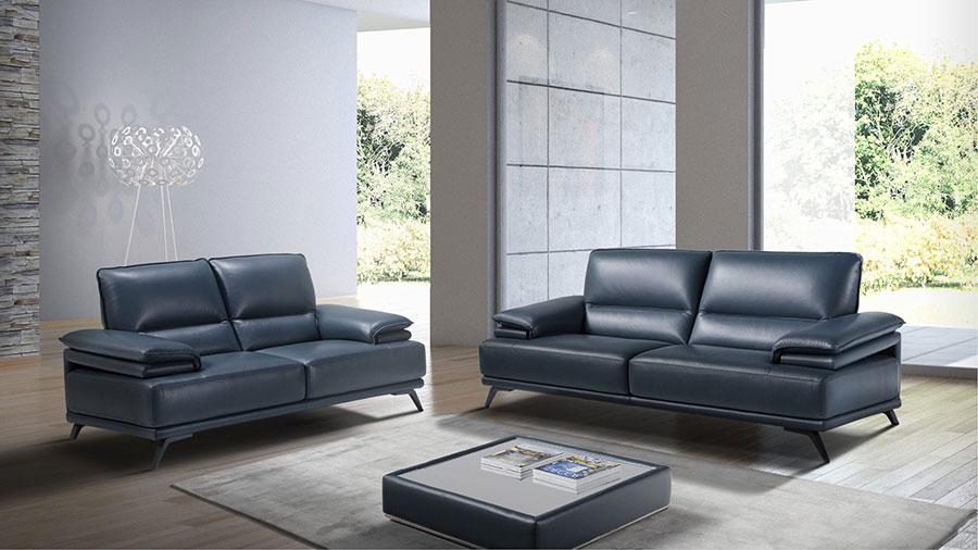 Modello di divano blu in pelle n.01