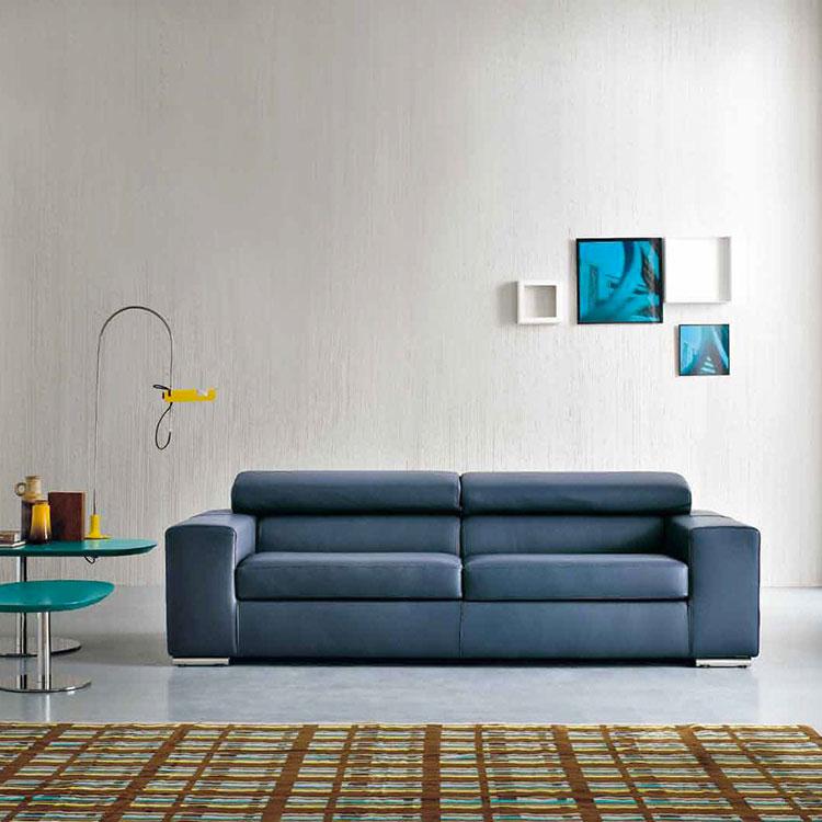 Modello di divano blu in pelle n.02