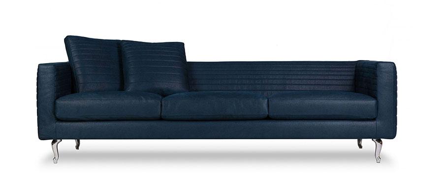 Modello di divano blu in pelle n.04