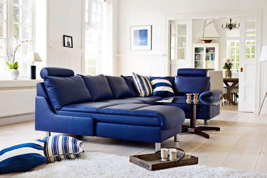 Modello di divano blu in pelle n.08