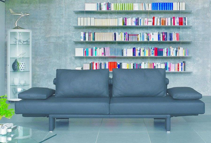 Modello di divano blu in pelle n.09