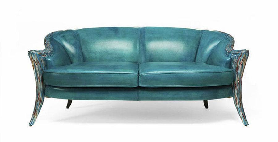 Modello di divano blu in pelle n.10