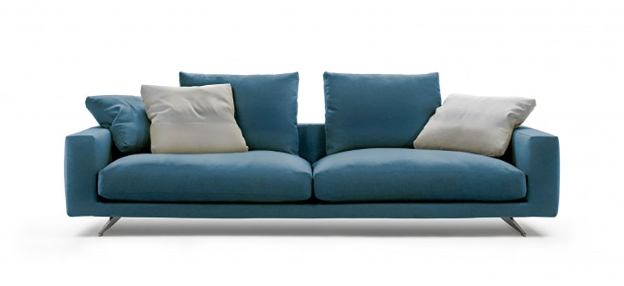 Modello di divano blu in tessuto n.01