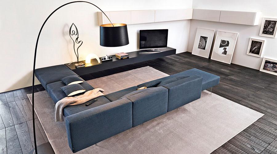 Modello di divano blu in tessuto n.04