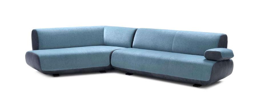 Modello di divano blu in tessuto n.08