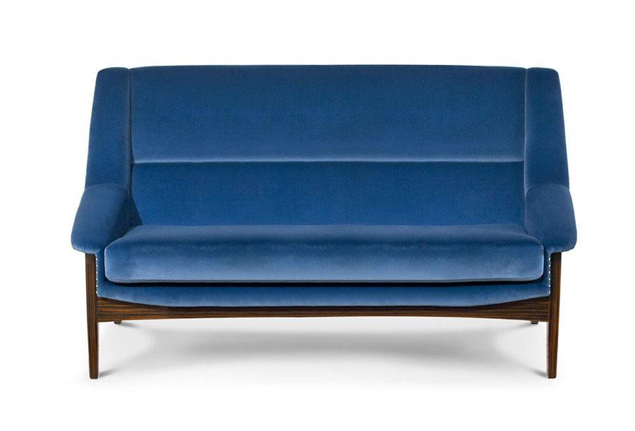 Modello di divano blu in velluto n.04
