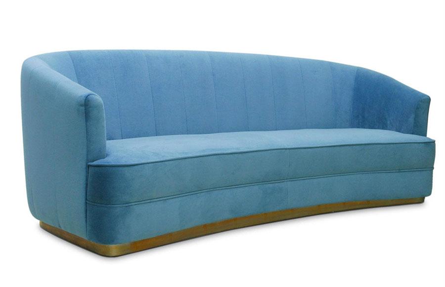 Modello di divano blu in velluto n.05