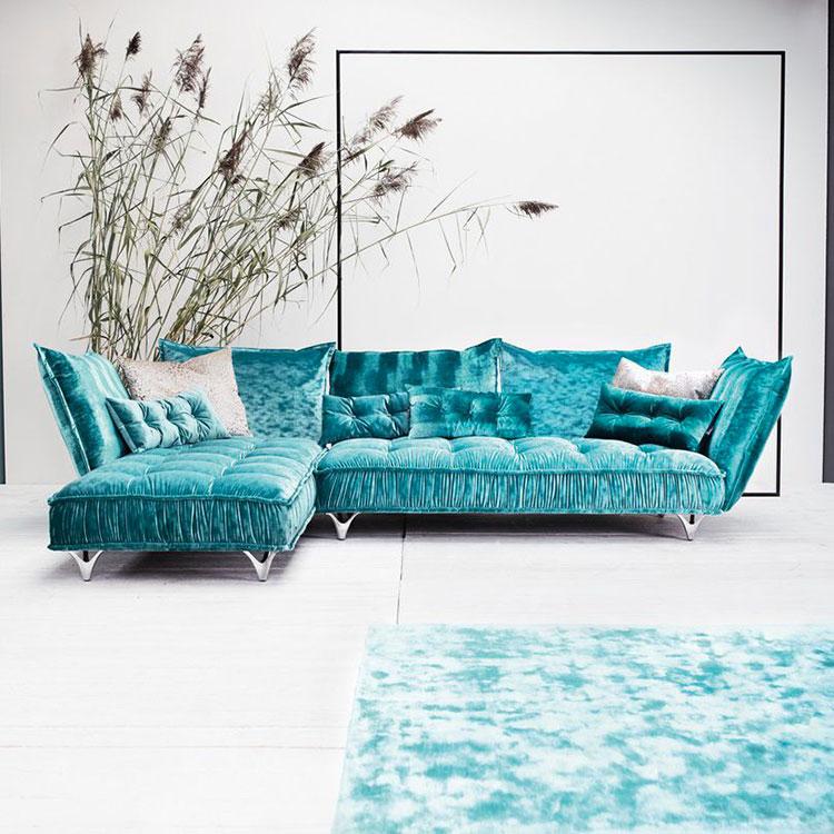 Modello di divano blu in velluto n.08
