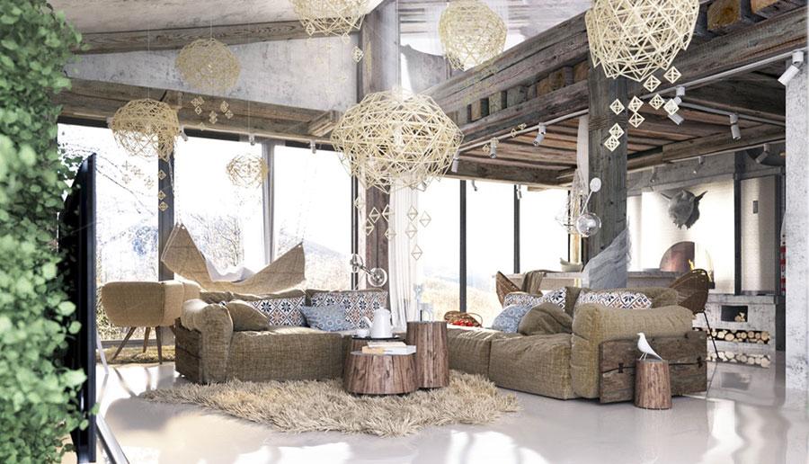 Idee per arredare un soggiorno in stile rustico n.01