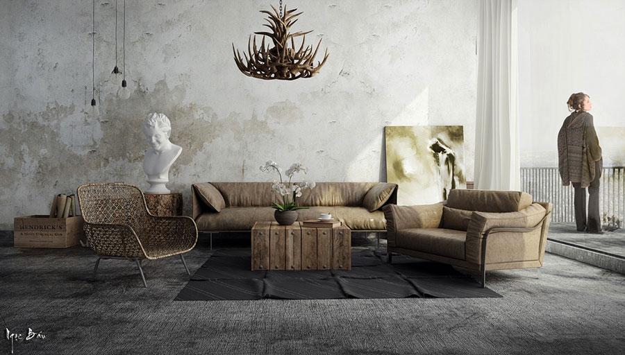 Idee per arredare un soggiorno in stile rustico n.02