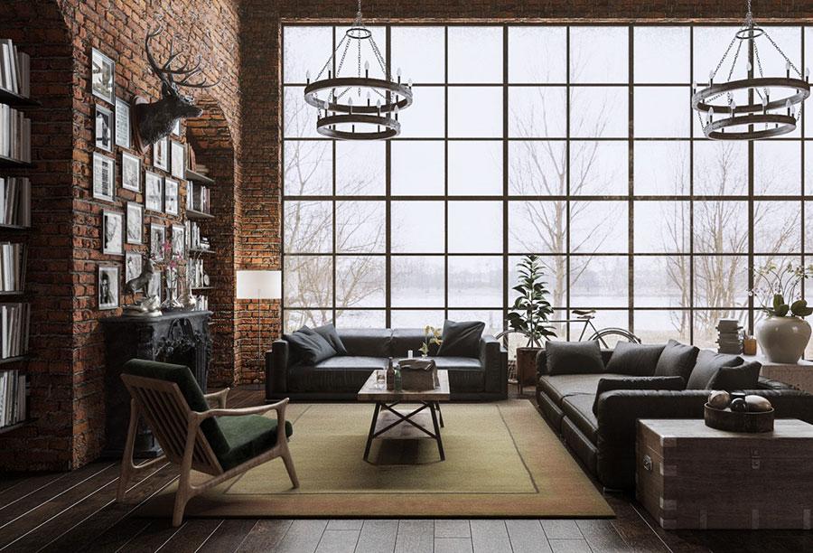 Idee per arredare un soggiorno in stile rustico n.05