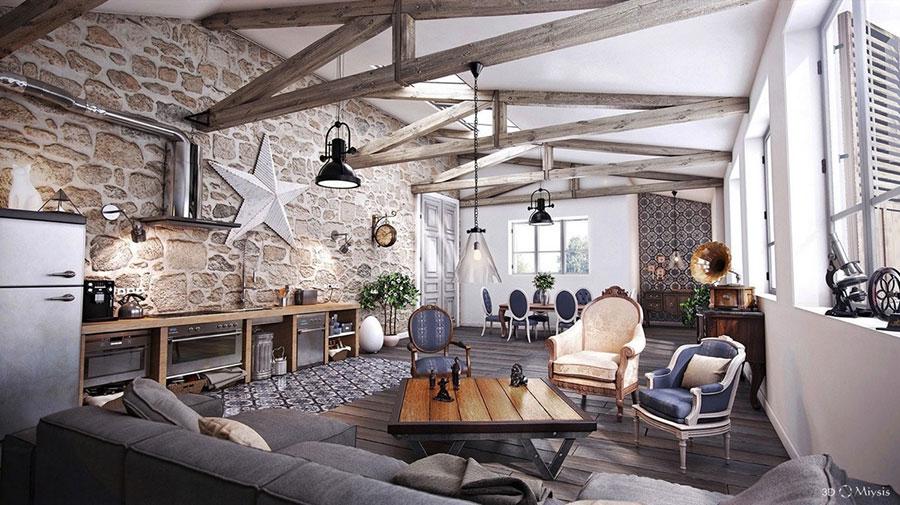 Idee per arredare un soggiorno in stile rustico n.08