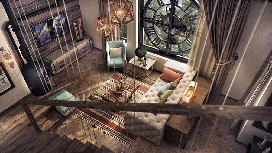 Idee per arredare un soggiorno in stile rustico n.11