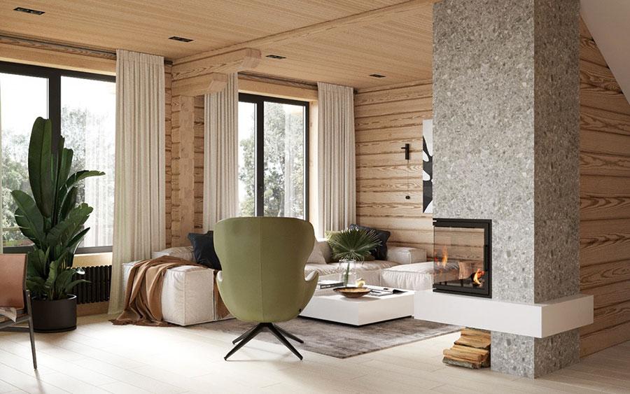 Idee per arredare un soggiorno in stile rustico moderno n.01