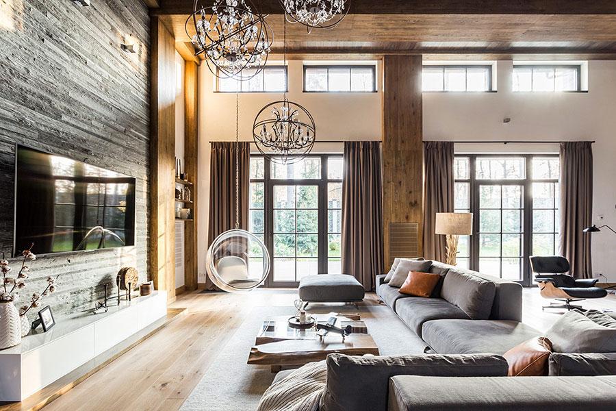 Idee per arredare un soggiorno in stile rustico moderno n.03